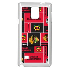 Chicago Blackhawks Nhl Block Fleece Fabric Samsung Galaxy Note 4 Case (White)