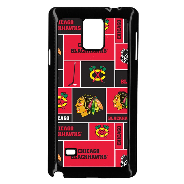 Chicago Blackhawks Nhl Block Fleece Fabric Samsung Galaxy Note 4 Case (Black)