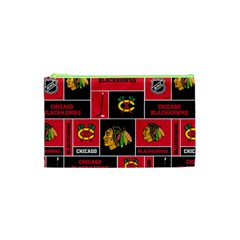 Chicago Blackhawks Nhl Block Fleece Fabric Cosmetic Bag (XS)