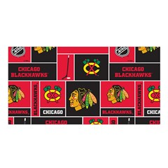 Chicago Blackhawks Nhl Block Fleece Fabric Satin Shawl