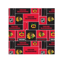 Chicago Blackhawks Nhl Block Fleece Fabric Small Satin Scarf (Square)