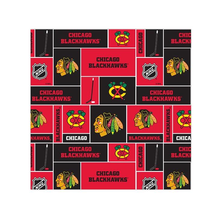 Chicago Blackhawks Nhl Block Fleece Fabric Small Satin Scarf (Square)