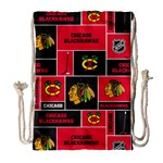 Chicago Blackhawks Nhl Block Fleece Fabric Drawstring Bag (Large) Front