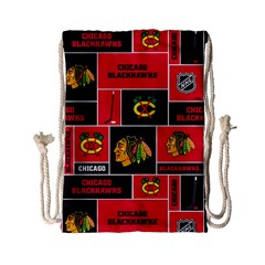 Chicago Blackhawks Nhl Block Fleece Fabric Drawstring Bag (small)