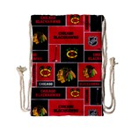 Chicago Blackhawks Nhl Block Fleece Fabric Drawstring Bag (Small) Front