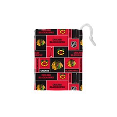 Chicago Blackhawks Nhl Block Fleece Fabric Drawstring Pouches (XS)
