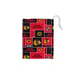 Chicago Blackhawks Nhl Block Fleece Fabric Drawstring Pouches (XS)  Front