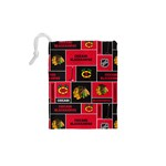 Chicago Blackhawks Nhl Block Fleece Fabric Drawstring Pouches (XS)  Back