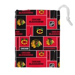 Chicago Blackhawks Nhl Block Fleece Fabric Drawstring Pouches (Extra Large) Front