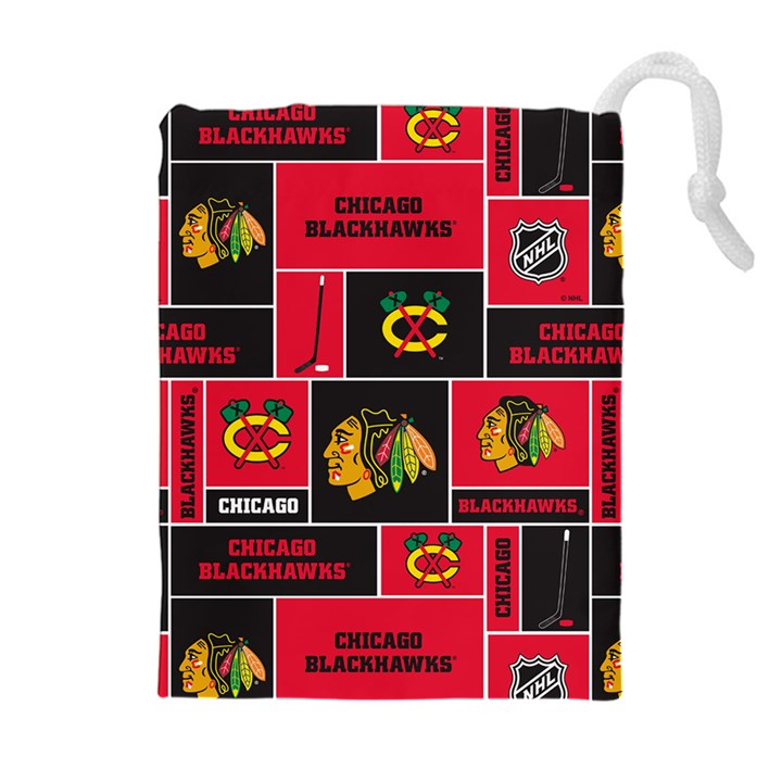 Chicago Blackhawks Nhl Block Fleece Fabric Drawstring Pouches (Extra Large)
