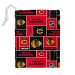 Chicago Blackhawks Nhl Block Fleece Fabric Drawstring Pouches (Extra Large) Back