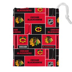 Chicago Blackhawks Nhl Block Fleece Fabric Drawstring Pouches (xxl)