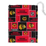 Chicago Blackhawks Nhl Block Fleece Fabric Drawstring Pouches (XXL) Front