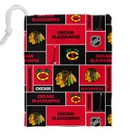 Chicago Blackhawks Nhl Block Fleece Fabric Drawstring Pouches (XXL) Back