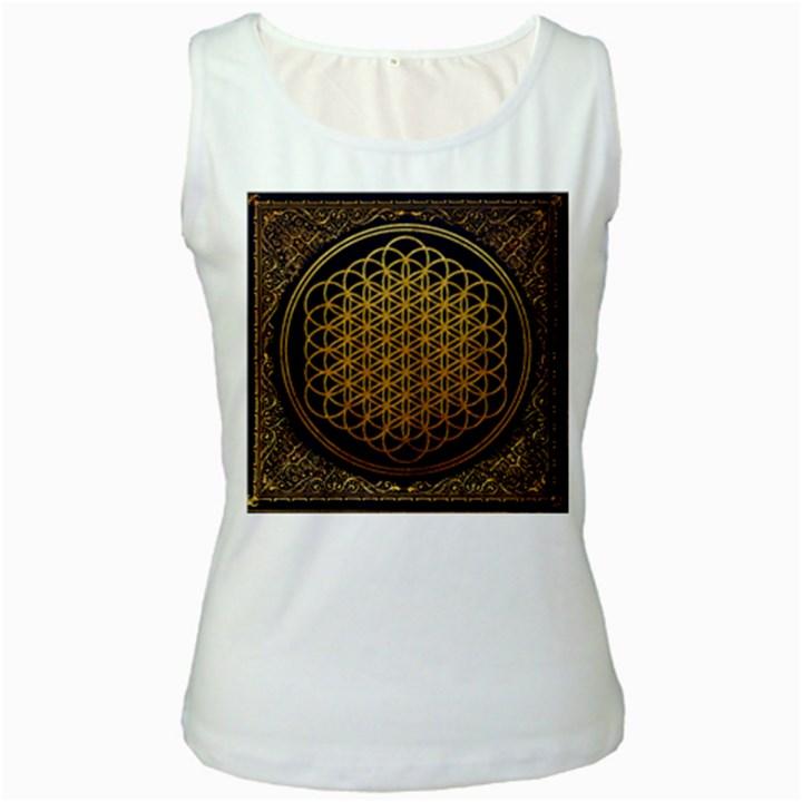 Bring Me The Horizon Cover Album Gold Women s White Tank Top