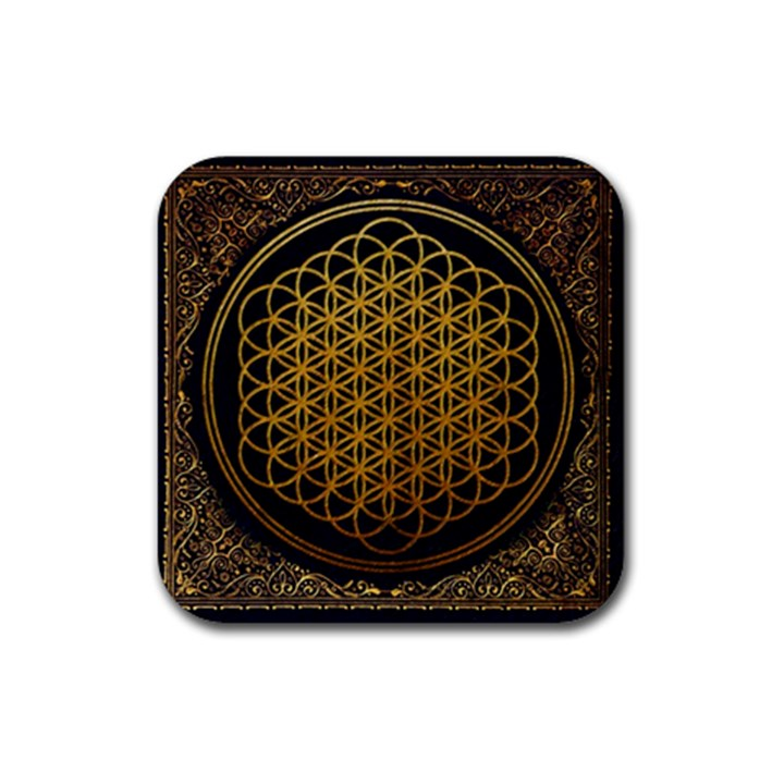 Bring Me The Horizon Cover Album Gold Rubber Square Coaster (4 pack)