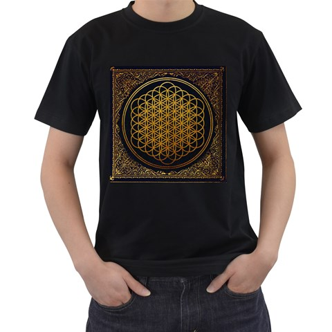Bring Me The Horizon Cover Album Gold Men s T-Shirt (Black) (Two Sided)