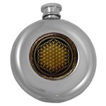 Bring Me The Horizon Cover Album Gold Round Hip Flask (5 oz) Front
