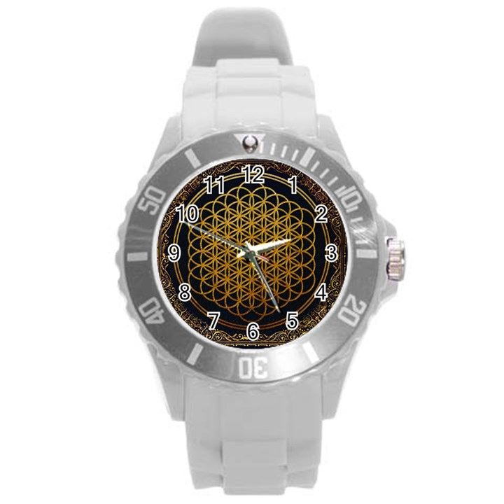 Bring Me The Horizon Cover Album Gold Round Plastic Sport Watch (L)