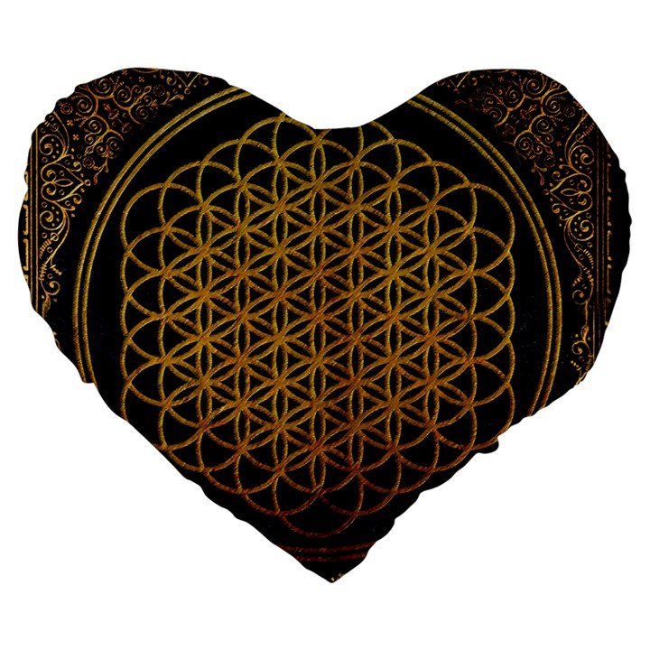 Bring Me The Horizon Cover Album Gold Large 19  Premium Heart Shape Cushions
