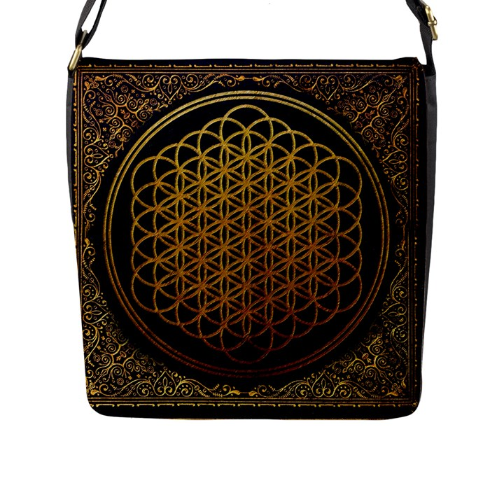 Bring Me The Horizon Cover Album Gold Flap Messenger Bag (L)