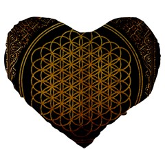 Bring Me The Horizon Cover Album Gold Large 19  Premium Flano Heart Shape Cushions