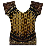 Bring Me The Horizon Cover Album Gold Women s V-Neck Cap Sleeve Top Front
