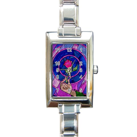 Enchanted Rose Stained Glass Rectangle Italian Charm Watch