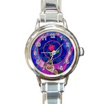 Enchanted Rose Stained Glass Round Italian Charm Watch Front
