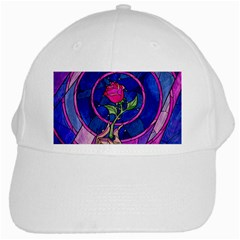 Enchanted Rose Stained Glass White Cap