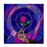 Enchanted Rose Stained Glass Tile Coasters Front