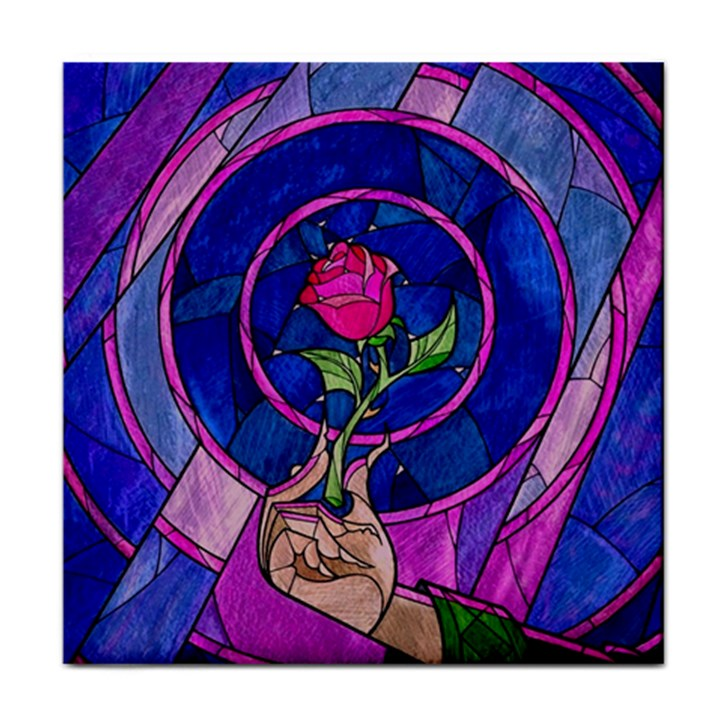 Enchanted Rose Stained Glass Tile Coasters