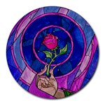 Enchanted Rose Stained Glass Round Mousepads Front