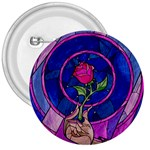 Enchanted Rose Stained Glass 3  Buttons Front