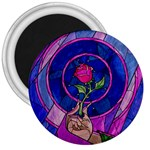 Enchanted Rose Stained Glass 3  Magnets Front