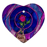 Enchanted Rose Stained Glass Ornament (Heart)  Front