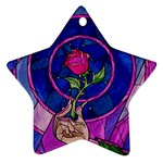 Enchanted Rose Stained Glass Ornament (Star)  Front