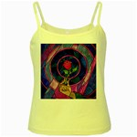 Enchanted Rose Stained Glass Yellow Spaghetti Tank Front