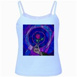 Enchanted Rose Stained Glass Baby Blue Spaghetti Tank Front