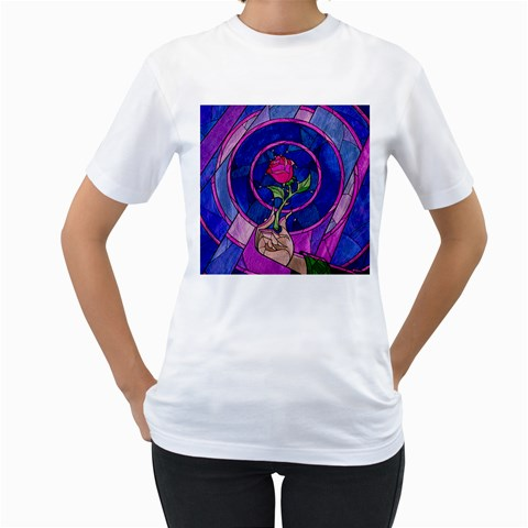 Enchanted Rose Stained Glass Women s T-Shirt (White) (Two Sided)