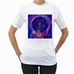 Enchanted Rose Stained Glass Women s T-Shirt (White) (Two Sided) Front