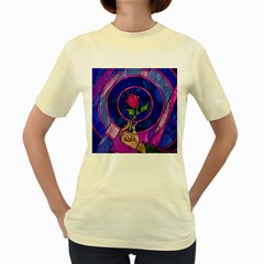 Enchanted Rose Stained Glass Women s Yellow T-Shirt