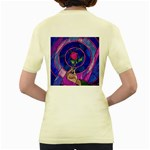 Enchanted Rose Stained Glass Women s Yellow T-Shirt Back