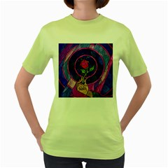 Enchanted Rose Stained Glass Women s Green T Shirt