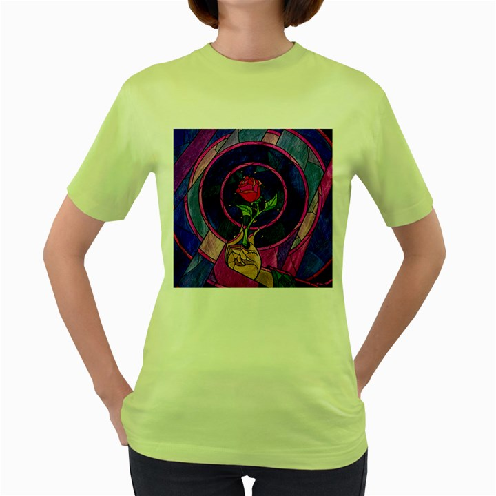 Enchanted Rose Stained Glass Women s Green T-Shirt