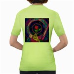 Enchanted Rose Stained Glass Women s Green T-Shirt Back