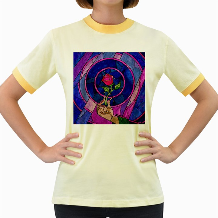 Enchanted Rose Stained Glass Women s Fitted Ringer T-Shirts