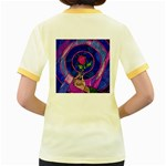 Enchanted Rose Stained Glass Women s Fitted Ringer T-Shirts Back