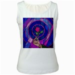 Enchanted Rose Stained Glass Women s White Tank Top Front