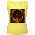 Enchanted Rose Stained Glass Women s Yellow Tank Top Front